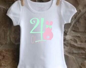 girls' personalized bunny rabbit birthday shirt vinyl custom