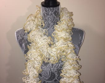 White And Gold Frilly Scarf