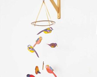 Garden Bird Mobile - baby mobile, wooden mobile, bird mobile