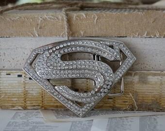 Vintage SUPERMAN belt buckle Rhinestones Silvertone metal