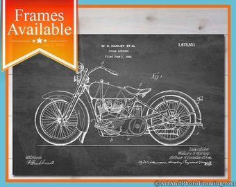 Harley Davidson Poster Print Patent Gift for Dad Motorcycle Decor Harley Davidson Wall Art Motorcycle Poster Harley Print Motorcycle Patent