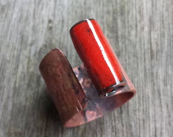 Copper - red coral ring ring