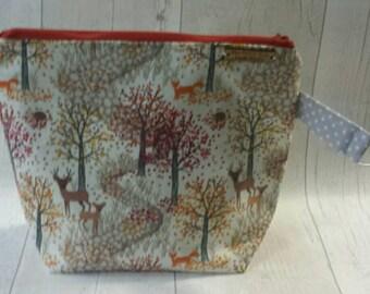 Autumnal fabric bag, Medium size bag, Storage bag, project bag, wip bag, sock bag, knitting, crochet.