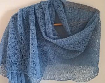 blue lace wrap/ lace shawl/ blue lace stole/ lace wrap/ pale blue wrap/ wedding wrap/ summer scarf