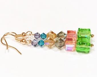 crystal earrings, rainbow earrings, rose gold earrings, crystal jewelry, rose gold jewelry, cube earrings, drop earrings, mom gift