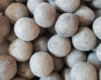 Wool Dryer Balls - 6 Large Natural Grey Wool Dryer Balls - Dryer Ball Set - Wool felt Balls - Great For Cloth Diapers - Felted Dryer Balls