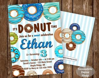 Donut Birthday Party Invitation doughnut Party Invitation boy birthday blue green teal Digital PRINTABLE ANY AGE photo photograph BDonut2