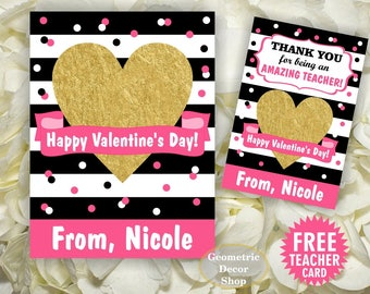 Heart / Gold / Valentine / Valentines / Card / Pink / Stripes / Black / Valentine's Day / Personalized Tags / teacher / Kids VCard75