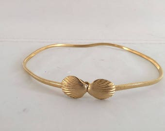60's Vintage Accessocraft NYC Gold Tone Belt with Seashell Buckle