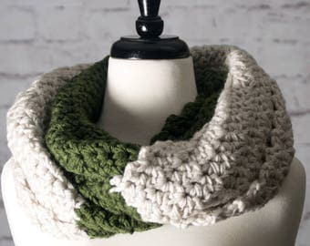 Dark Olive Cowl - Green & Linen Infinity Scarf with Decorative Buttons - Chunky Hand Crocheted Scarf - Thick Neck Warmer - Off White Scarf