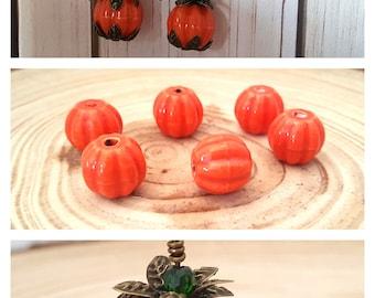 6 Orange Porcelain Pumpkin Beads | Fall Beads | Orange Porcelain Halloween Beads | Ceramic Beads