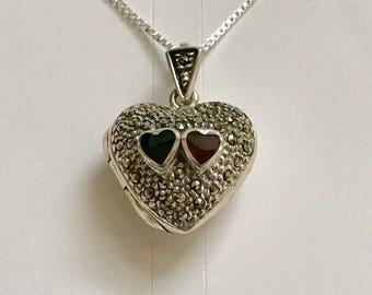 Vintage Sterling Silver Marcasite Locket with Black Onyx and Red Carnelian Hearts Pendant Necklace