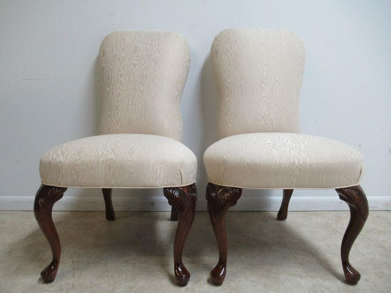 Pair Knob Creek Head Of The Table Side Chairs Queen Anne Shell Carved