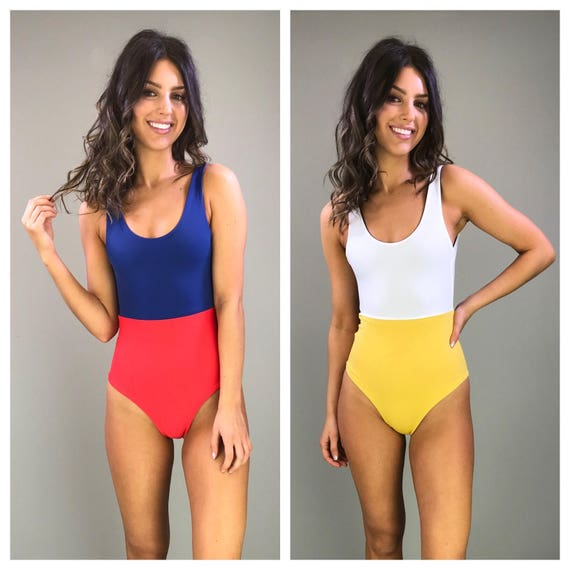 One piece swimsuit color block reversible tank style maillot size small