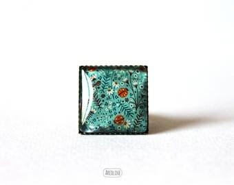 Ring square 20 mm° Retro Cabochon (ladybugs)
