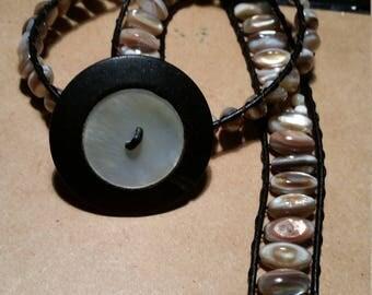 Mother of pearl boho wrap bracelet