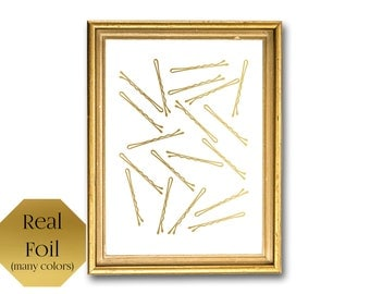Bobby Pins, Rose Gold Bathroom Decor, Home Wall Art, Girly Gold foil
