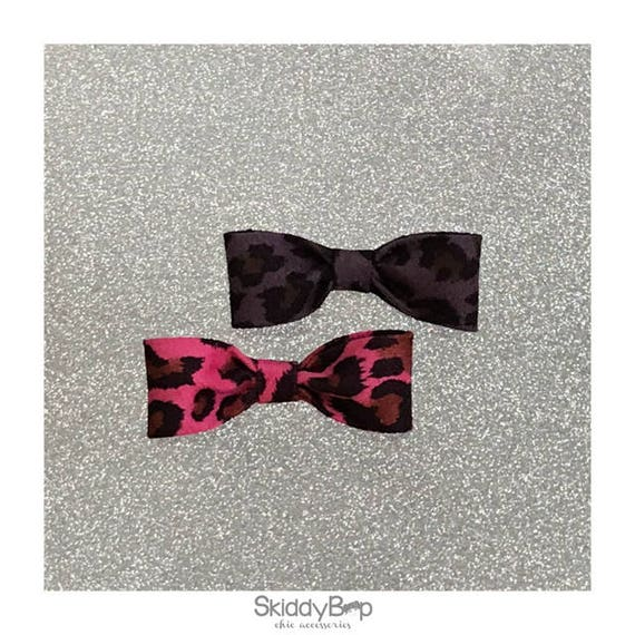 Faux Suede Animal Print Bow