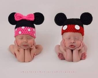 Minnie mouse newborn beanie / photo prop