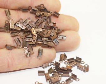 50 Pcs Antique Copper Leather Crimp Ends with Loop (3x8mm), Cord Ends, Crimp End Findings, Cord tip, Crimps, jewelry crimps,  GNC
