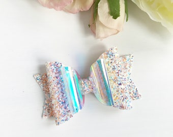 Crushed Sea Shells Bow, Glitter Bow, Vinyl Bow, Hair Bow, Baby/Girl, Headband, Multicoloured Glitter