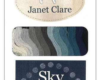 ON SALE SKY Embroidery Floss - Janet Clare - Lecien - (12) 8.75 Yard Skeins of Cosmo Six Stranded Cotton Floss - Blue - Grey - 25019