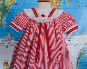 Vintage Baby Dress / Stars and Stripes Baby Dress / Red and White Baby Dress / Patriotic Baby Dress / Size 9 Months / Size 12 Months