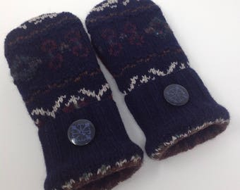Wool Fleece lined mittens made from recycled sweaters