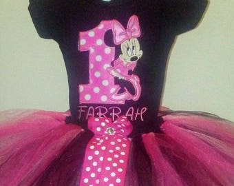 Pink Minnie Mouse 1st Birthday Outfit Pink Minnie Mouse Birthday Outfit Minnie Mouse Shirt Minnie Mouse Onesie Minnie Mouse Birthday Outfit