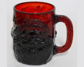 Ruby Red Glass 3D Santa Christmas Mug Cup by Arcoroc France