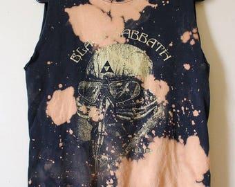 Splatter Bleached Black Sabbath Tank Top Muscle Tee Small