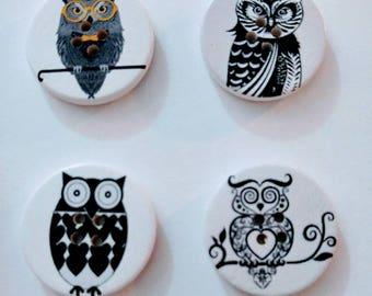 Wooden Owl Buttons x 4