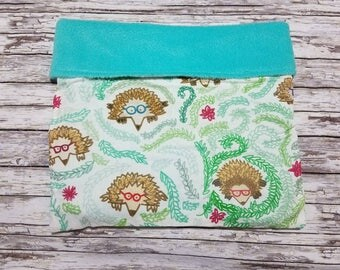 Hedgie Bag / Small Animal Snuggle Sack / Snuggle Pouch - Nerdy  Hedgehogs on White Cotton