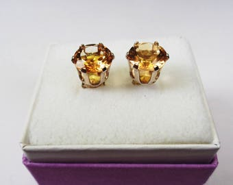 Citrine. Posts.  8mm. Natural Citrene  Silver Stud Earrings.