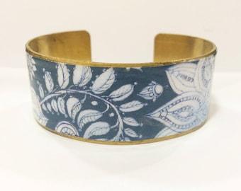 "Bracelet ethnic ""sentimental"" wide-protected paper - black, bronze, gold tones"