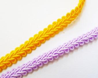 2 Purple yellow serpentine Ribbon 7mm