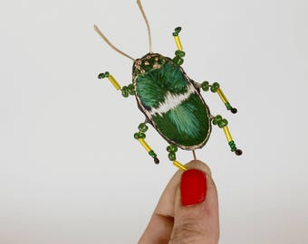 embroidered brooch in volume, insect beetle, volume, unique beadwork brooch hand embroidered