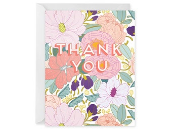 Thank You Card - Floral Thank You Card - Single Card - Full Floral Thank You Card Blank Inside