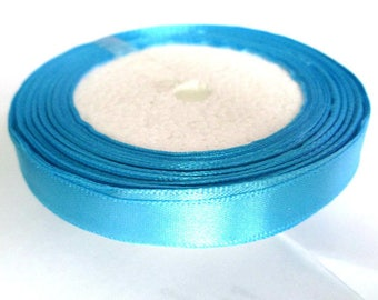 1 reel 23 m 12mm sky blue colored satin ribbon