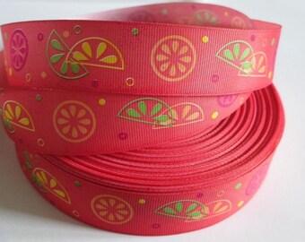 1 meter Ribbon printed fruit 25 mm