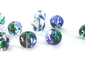 20 green beads and drawbench translucent blue glass 6mm