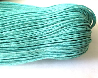 5 Metters blue Emerald waxed cotton wire 1.5 mm