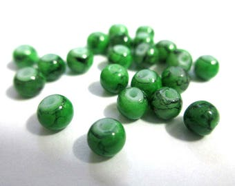 50 speckled Black 4mm green glass beads