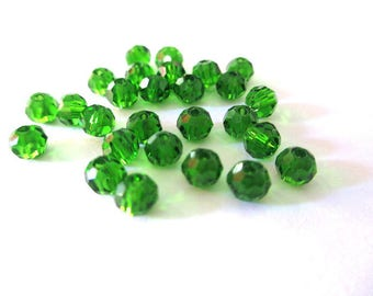 20 rondelle faceted beads 4mm glass bottle Green