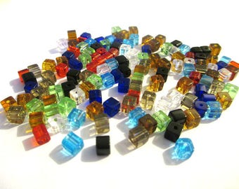 120 square beads mix of colored glass 4mm