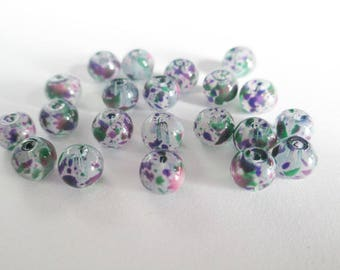 20 painted white speckled green and purple glass beads 6mm