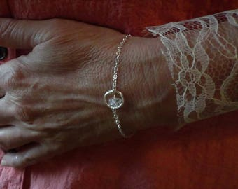 diamond and silver bracelet herkimer diamond faceted stone and sterling silver