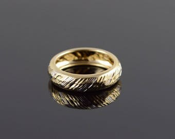 14k Hollow Ribbed Two Tone Wedding Band Ring Gold