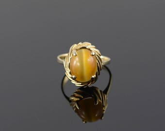 Retro Tiger Eye Oval Cabochon Twist Grooved Ring Size 6.25 Gold