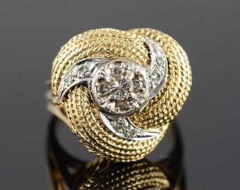 14k 0.27 Ctw Woven Swirl Diamond Ring Gold